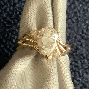 14K Yellow Gold Pear Cut CZ Ring